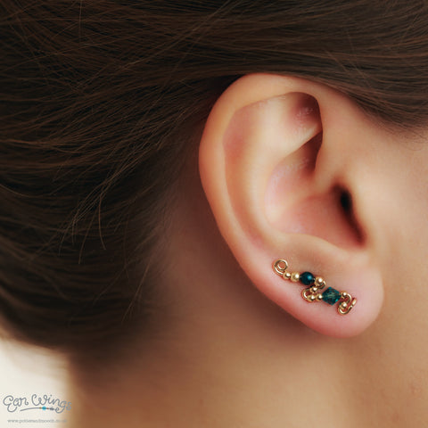 Ear Wings 14ct Yellow Gold Filled with Swarovski Indicolite Crystals