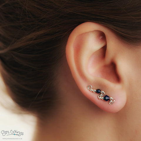 Ear Wings 925 Sterling Silver with Swarovski Indigo Crystals