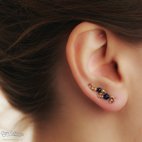 Ear Wings 14ct Yellow Gold Filled with Swarovski Indigo Crystals