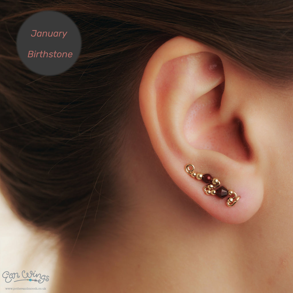 Ear Wings 14ct Yellow Gold Filled with Swarovski Garnet Crystals
