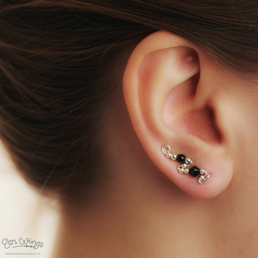 Ear Wings 925 Sterling Silver with Swarovski Jet Crystals