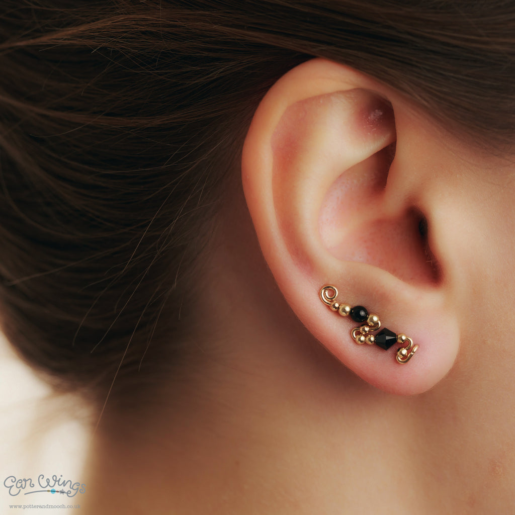 Ear Wings 14ct Yellow Gold Filled with Swarovski Jet Crystals