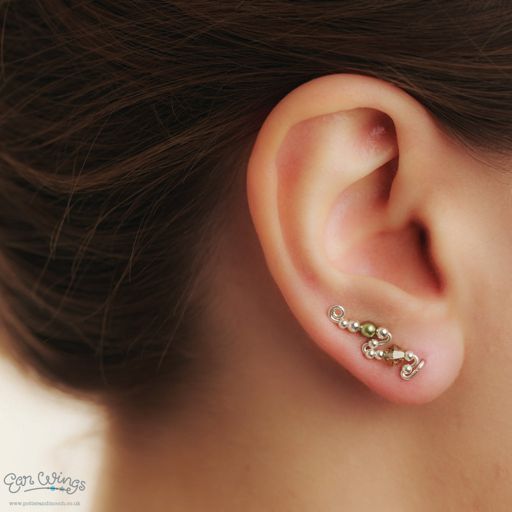 Ear Wings 925 Sterling Silver with Swarovski Jonquil Satin Crystals