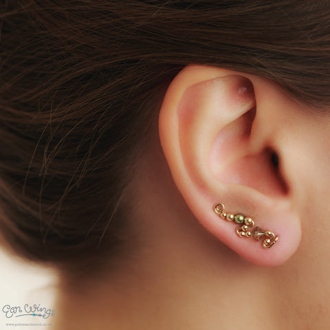 Ear Wings 14ct Yellow Gold Filled with Swarovski Jonquil Satin Crystals