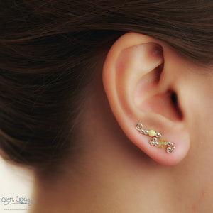 Ear Wings 925 Sterling Silver with Swarovski Jonquil Yellow Crystals