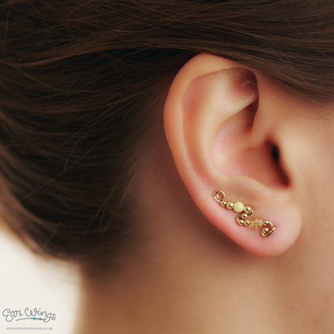 Ear Wings 14ct Yellow Gold Filled with Swarovski Jonquil Yellow Crystals