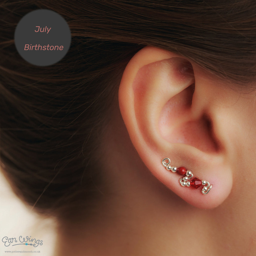 Ear Wings 925 Sterling Silver with Swarovski Light Siam Crystals