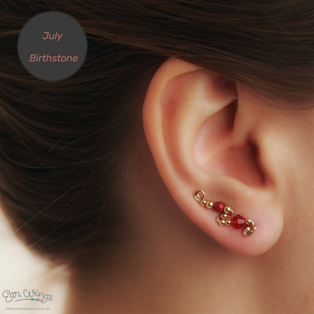 Ear Wings 14ct Yellow Gold Filled with Swarovski Light Siam Crystals