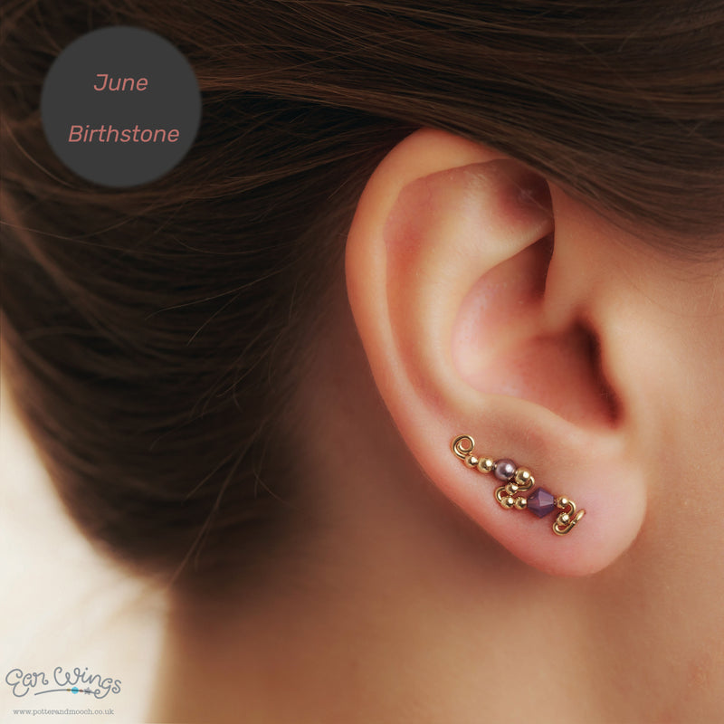 Ear Wings 14ct Yellow Gold Filled with Swarovski Cyclamen Opal Crystals