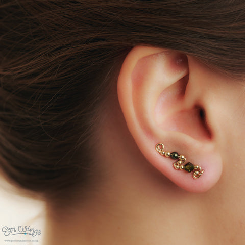 Ear Wings 14ct Yellow Gold Filled with Swarovski Olivine Crystals