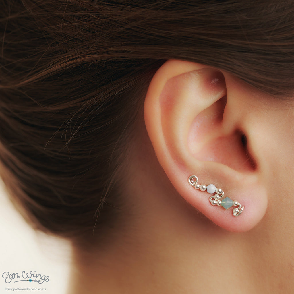 Ear Wings 925 Sterling Silver with Swarovski Pacific Opal Crystals