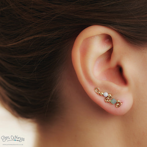Ear Wings 14ct Yellow Gold Filled with Swarovski Pacific Opal Crystals