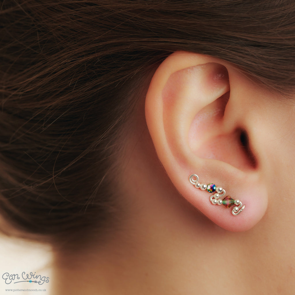 Ear Wings 925 Sterling Silver with Swarovski Paradise Shine Crystals and Hematite Beads