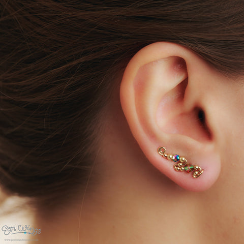 Ear Wings 14ct Yellow Gold Filled with Swarovski Paradise Shine Crystals and Hematite Beads