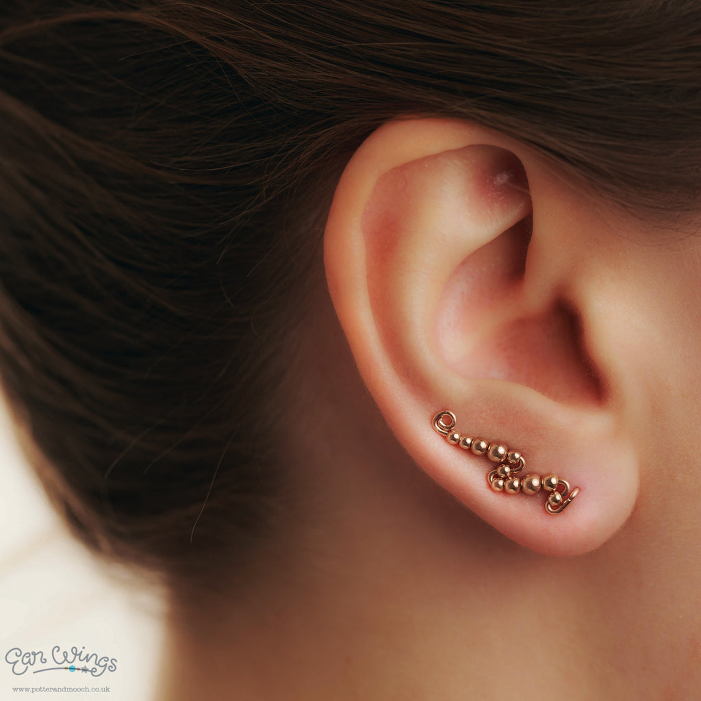 Ear Wings 14ct Rose Gold Filled with Rose Gold Filled Round Beads