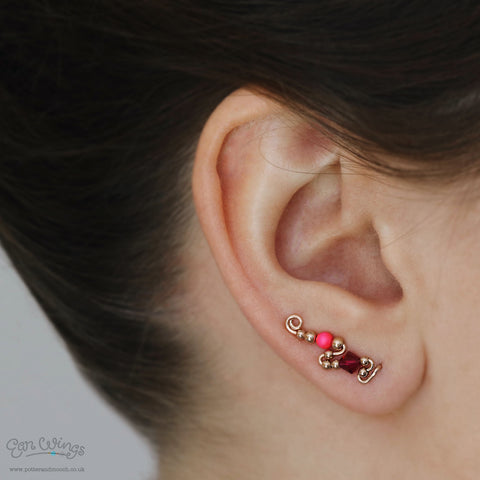 Ear Wings 'Raspberry' 14ct Rose Gold