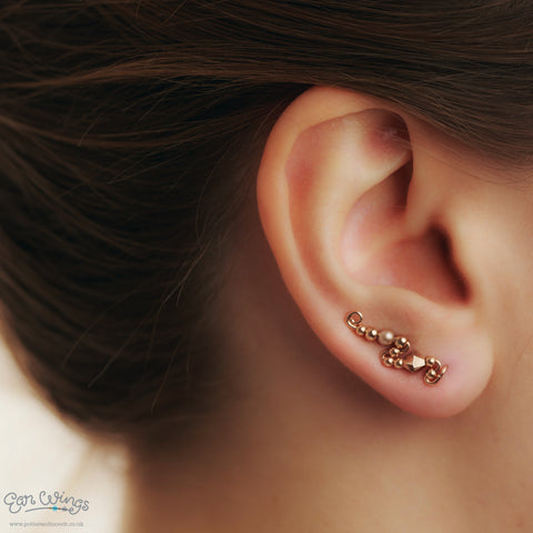 Ear Wings 14ct Rose Gold Filled with Swarovski Rose Gold Crystals