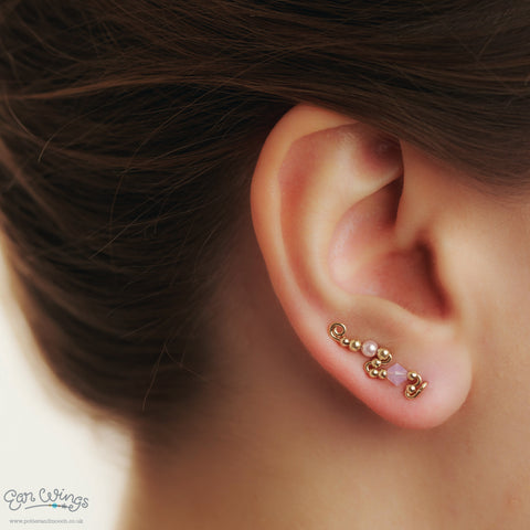 Ear Wings 14ct Yellow Gold Filled with Swarovski Rosewater Opal Crystals