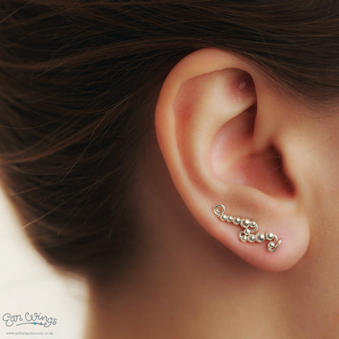 Ear Wings 925 Sterling Silver with Sterling Silver Round Beads
