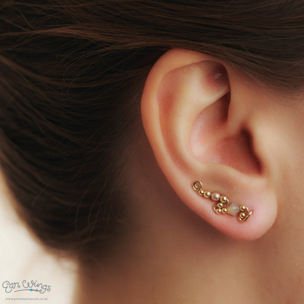 Ear Wings 14ct Yellow Gold Filled with Swarovski Sand Opal Crystals