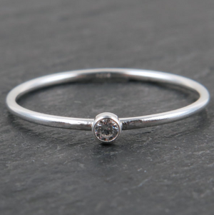 925 Sterling Silver Stacking Ring - Clear CZ Stone