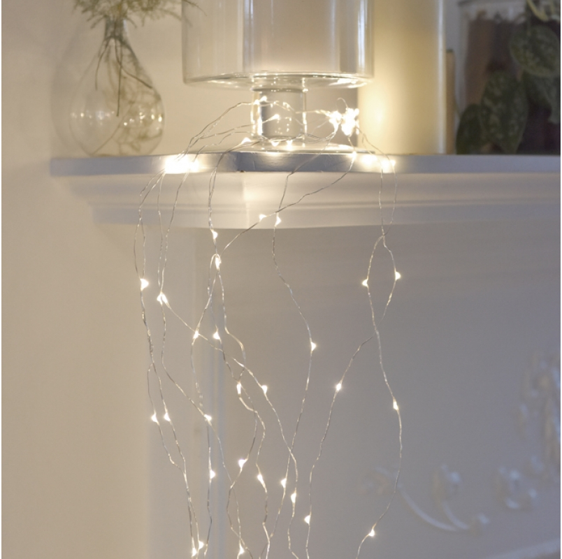 Silver Cascading Lights - 200 Blubs