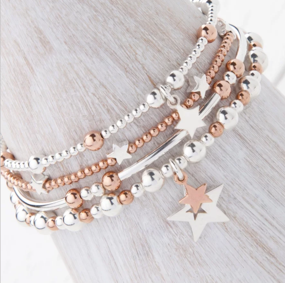 Phoebe Sterling Silver and Rose Gold Bracelet