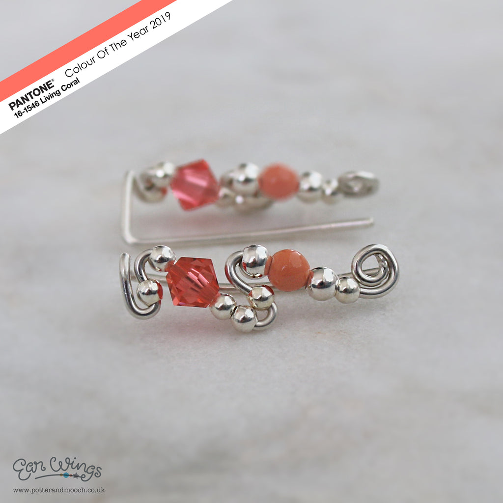 Ear Wings 925 Sterling Silver with Pantone Living Coral