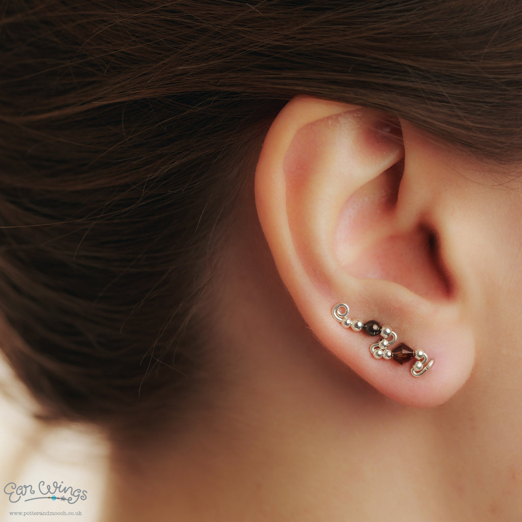 Ear Wings 925 Sterling Silver with Swarovski Smoked Topaz Chocolate Crystals
