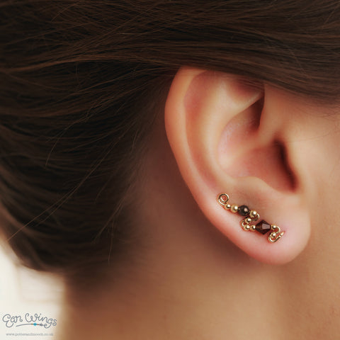Ear Wings 14ct Yellow Gold Filled with Swarovski Smoked Topaz Chocolate Crystals