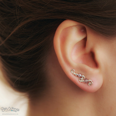Ear Wings 925 Sterling Silver with Swarovski Smokey Mauve Crystals