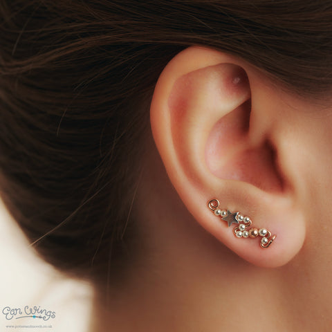 Ear Wings 14ct Rose Gold Filled with Sterling Silver Stars