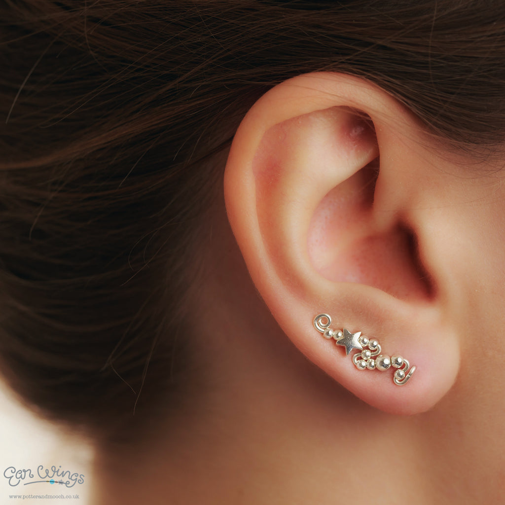 Ear Wings 925 Sterling Silver with Sterling Silver Stars