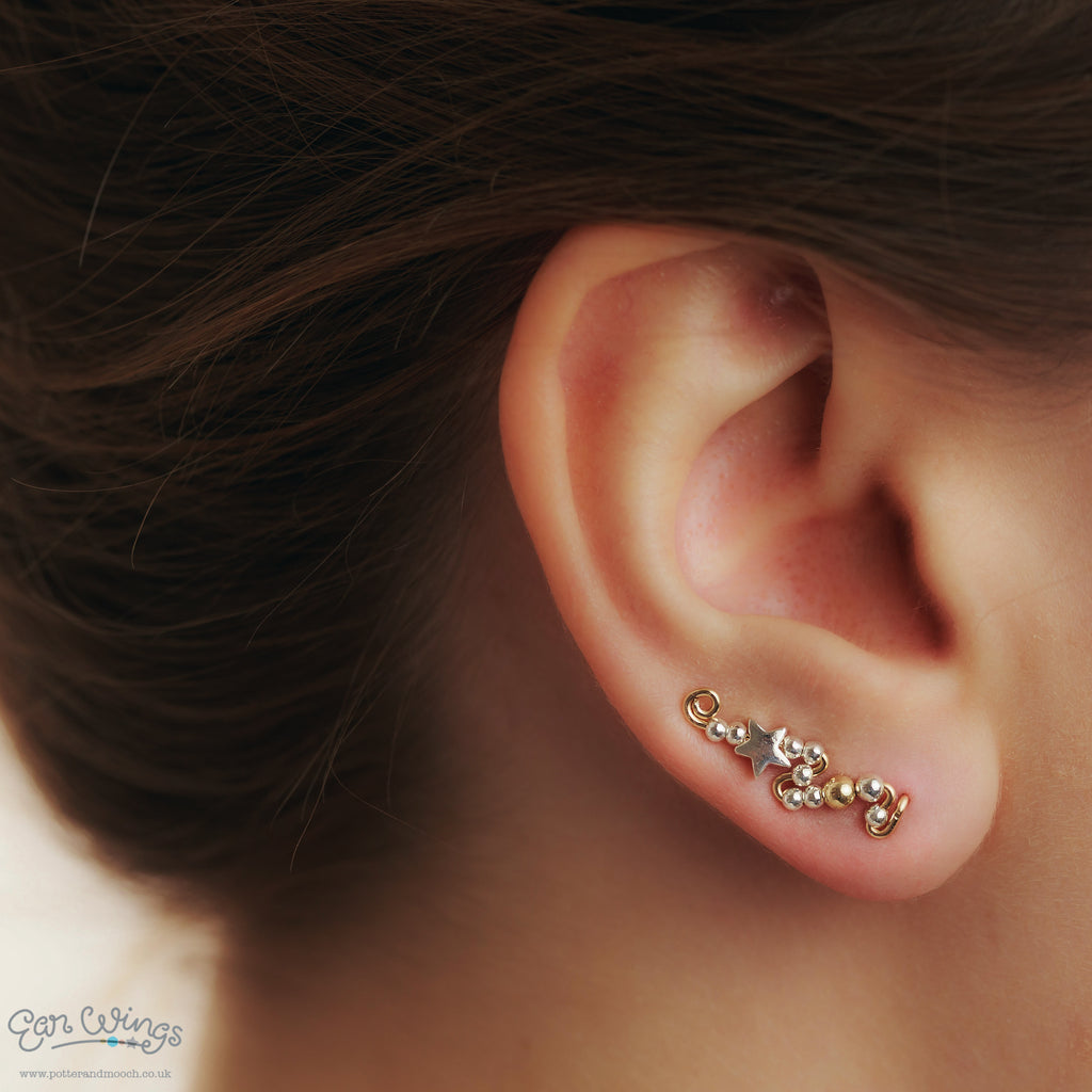 Ear Wings 14ct Yellow Gold Filled with Sterling Silver Stars