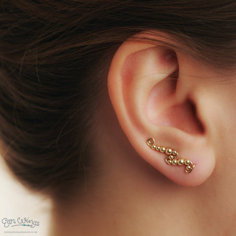 Ear Wings 14ct Yellow Gold Filled with Yellow Gold Filled Round Beads