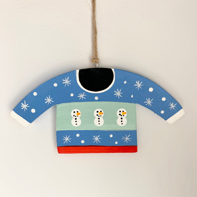 Wooden Snowman Jumper