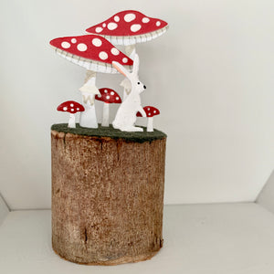 Toadstool and Hare on Log