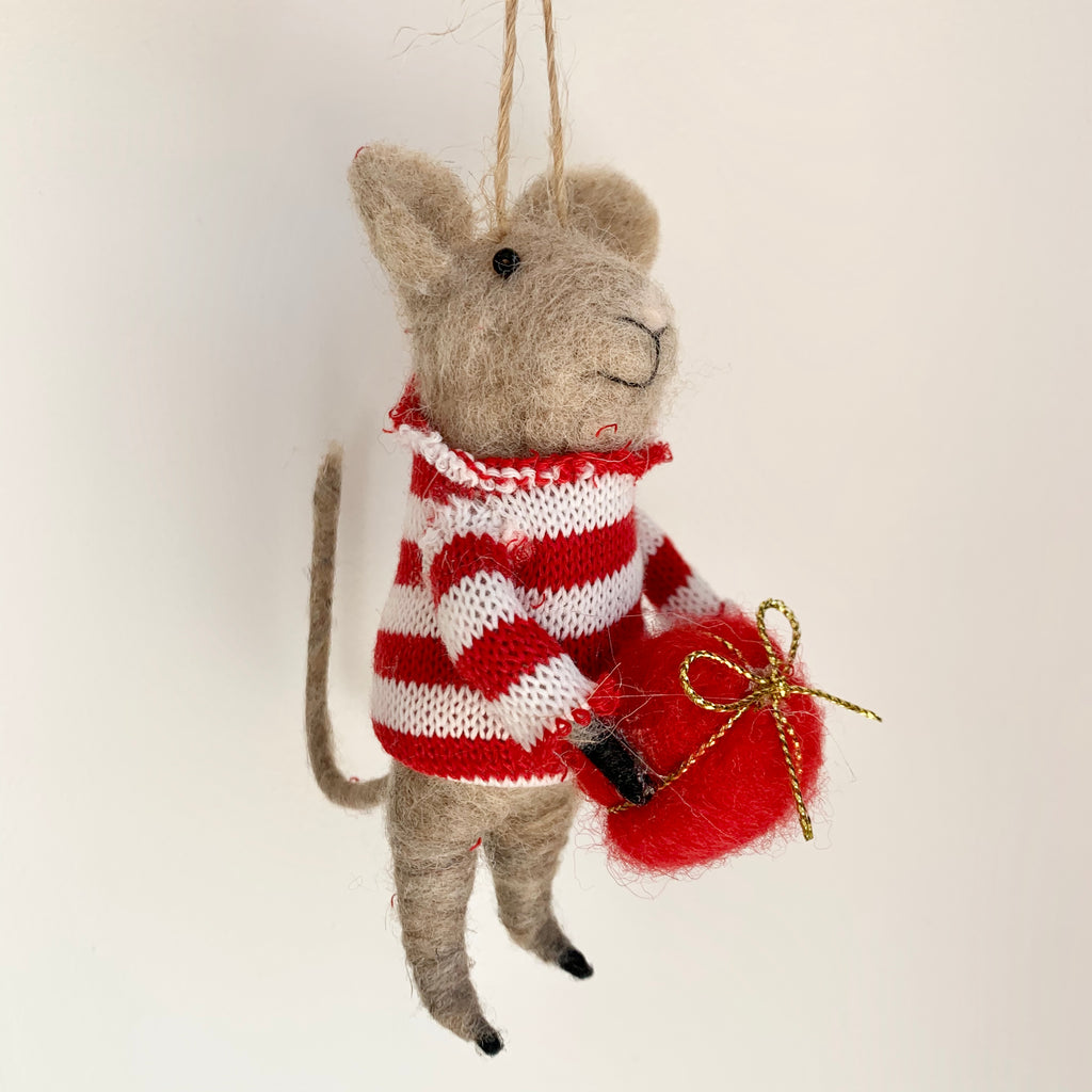 Felted Mouse in Striped Jumper