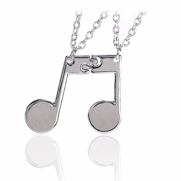 Best Friends /Couple Music Notes Pendant Necklace