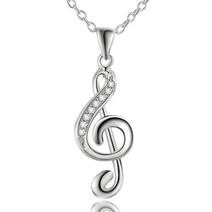 Silver Music Note Pendant Necklace