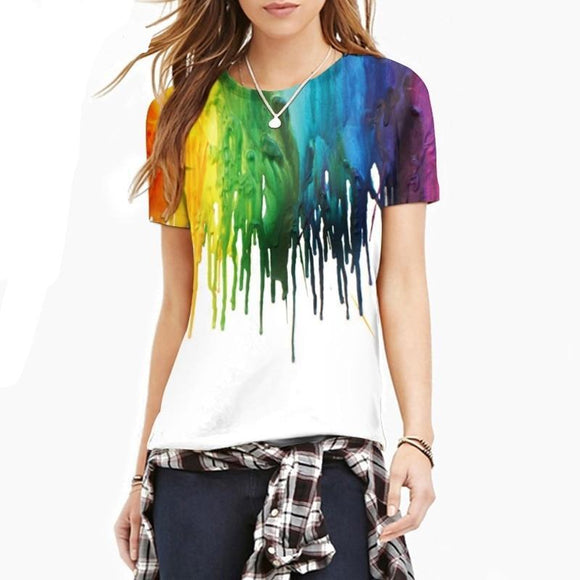 3D Rainbow Drips Print T-shirt
