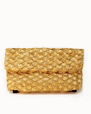Verdi - Clutch in Seashell Weave Gold