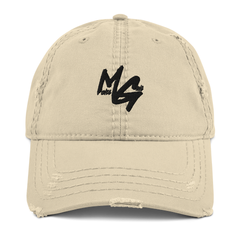 Distressed MONEE GANG Dad Hat (Black Logo)
