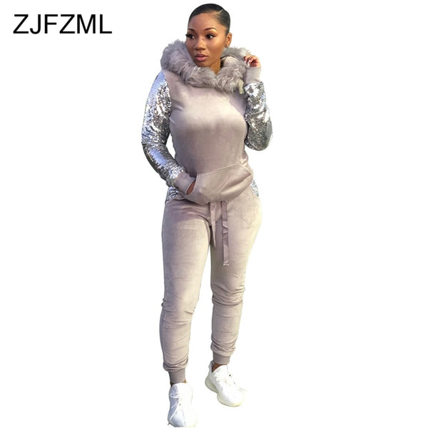 3ca34e6714 ... Hooded Top · Women s Velvet Two Piece Tracksuit Fluffy Faux Fur Hooded  ...