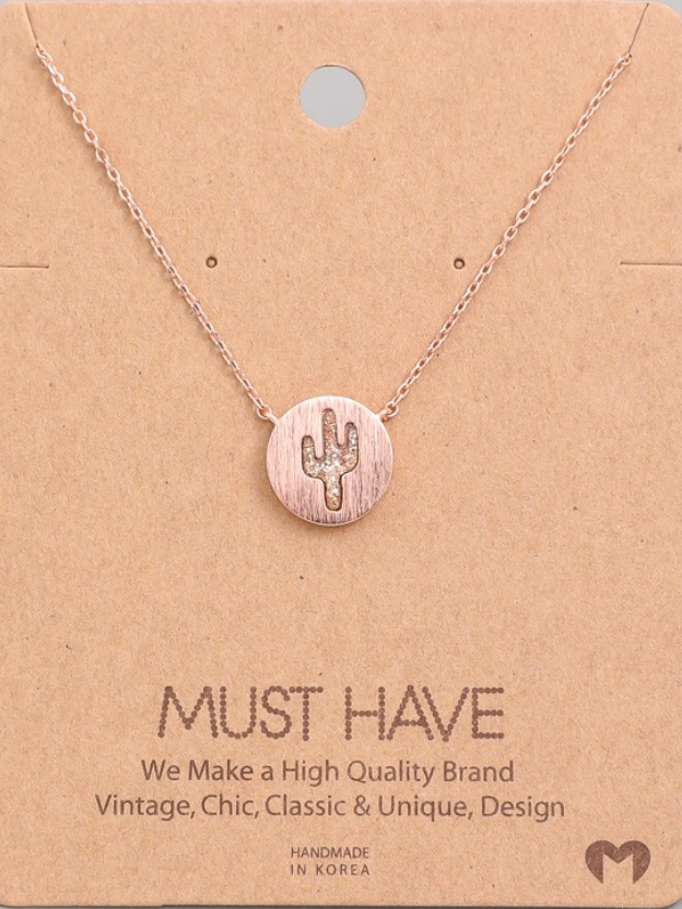 Rose Gold Cactus Necklace