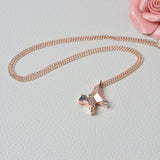 Rose Gold Origami Pet Silhouette Pendant Necklace