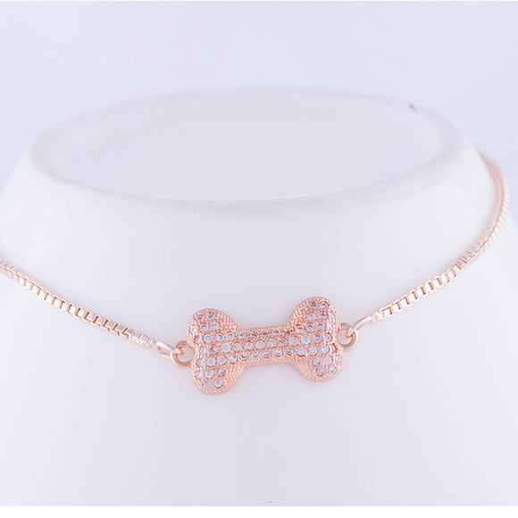 Zirconia Rose Gold Cute Dog Bone Charm Bracelet