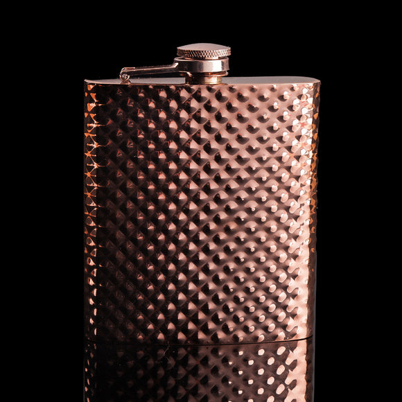 Rose Gold Diamond Shine 8 oz Stainless Steel Hip Flask