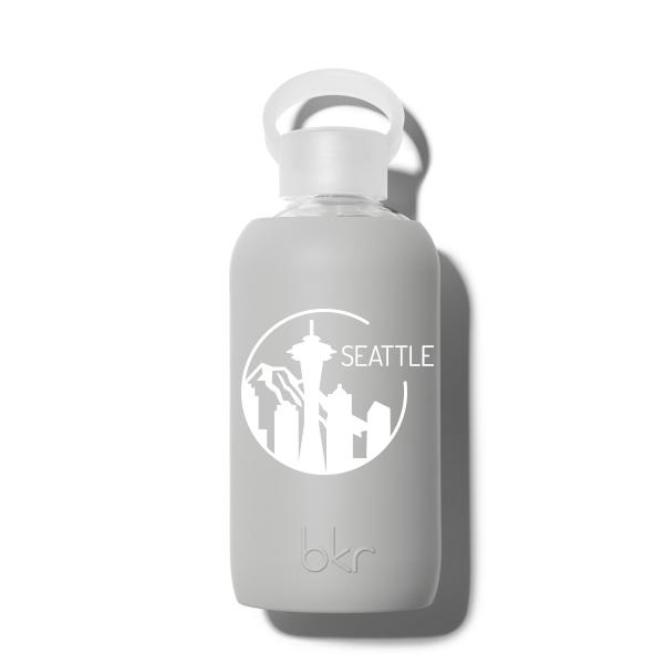 bkr Glass Water Bottle: 16oz LONDON SEATTLE SKYLINE 500 ML