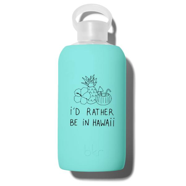 bkr Glass Water Bottle: 32oz AUDREY HAWAII RATHER BE 1L